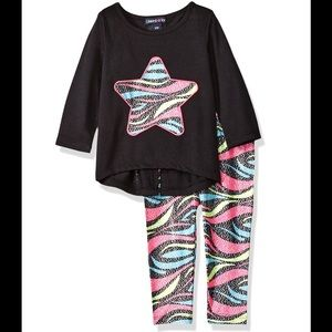 LIMITED TOO 2 Piece Black Sparkle Top Legging 24mo